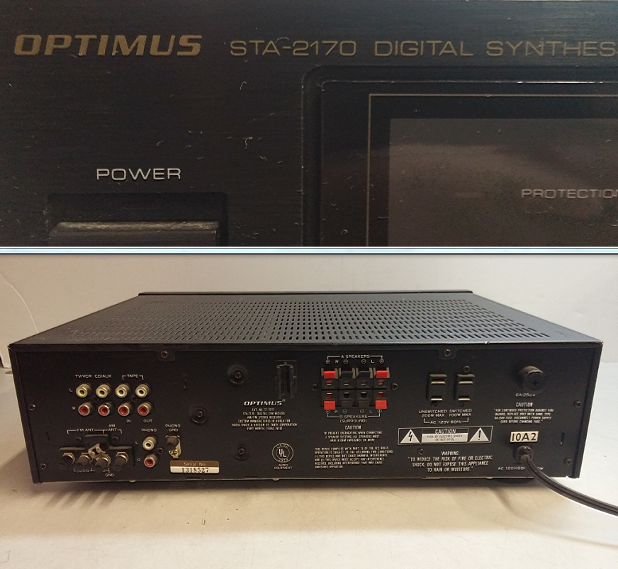 optimus sta 2170 digital synthesized am fm stereo. Black Bedroom Furniture Sets. Home Design Ideas