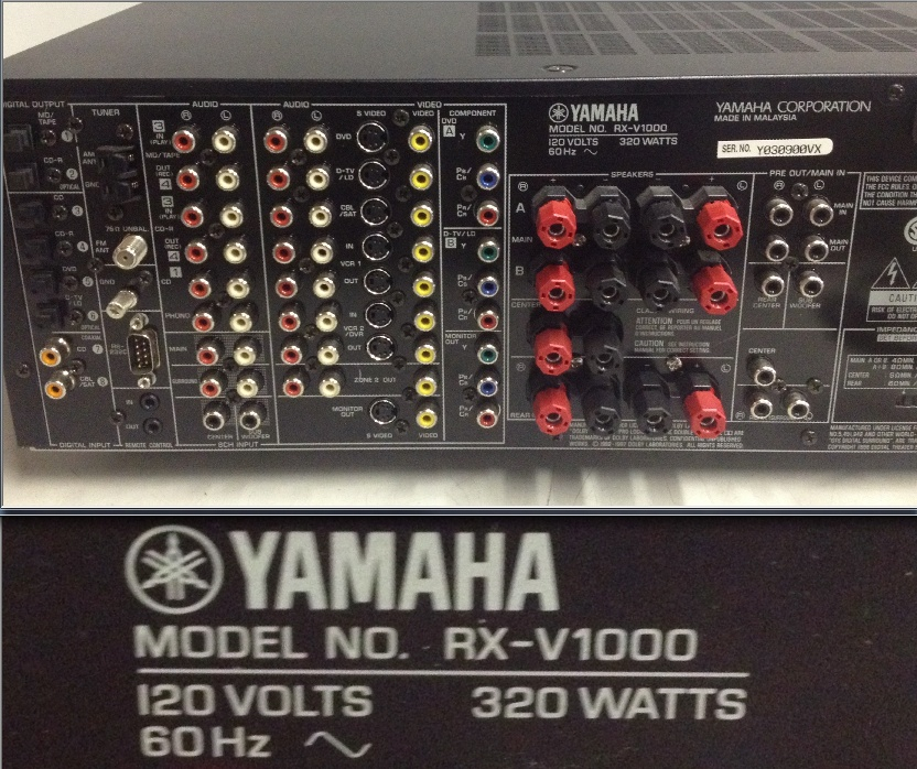 yamaha rx v1000 5 1 channel 500 watt stereo receiver for parts rh ebay ca yamaha rx-a1000 manual yamaha rx a1000 receiver manual